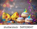 carnival powdered sugar raised... | Shutterstock . vector #569528047