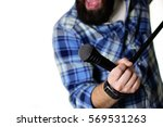 microphone on stage hand hold | Shutterstock . vector #569531263