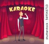 skinny guy singing karaoke on... | Shutterstock .eps vector #569543713