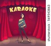 brunette girl singing karaoke... | Shutterstock .eps vector #569543863