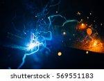 artistic welding sparks light ... | Shutterstock . vector #569551183