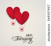 Cut paper red valentine hearts abstract composition on blue sky background. Vector illustration. Heart air balloons