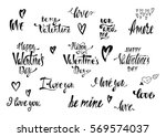 Collection of handwritten vector lettering for Valentines Day. Calligraphic phrases about love for wedding postcards, greeting cards, invitation, save the date cards, romantic style.