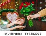 Guy Present Girl Flowers On...