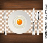 realistic vector fried egg icon ... | Shutterstock .eps vector #569596663
