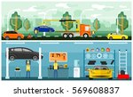 roadside assistance and car... | Shutterstock .eps vector #569608837