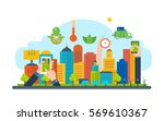 ecological city concept. new... | Shutterstock .eps vector #569610367