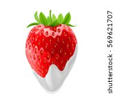 strawberry dipped in sour cream.... | Shutterstock .eps vector #569621707