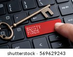 closed up finger on keyboard... | Shutterstock . vector #569629243