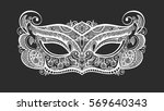 black lineart venetian carnival ... | Shutterstock .eps vector #569640343