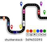 winding road with signs.... | Shutterstock .eps vector #569653393