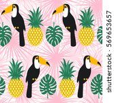 toucans and pineapples seamless ... | Shutterstock .eps vector #569653657
