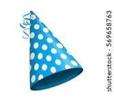 blue party hat with white... | Shutterstock .eps vector #569658763