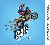 moto rally. vector pixel art... | Shutterstock .eps vector #569659567