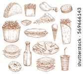 fast food sketch sandwich and... | Shutterstock .eps vector #569666143