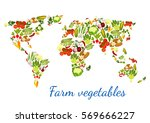 vegetables and greens in world... | Shutterstock .eps vector #569666227
