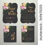 floral wedding invitation save... | Shutterstock .eps vector #569670253