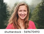beautiful happy young smiling... | Shutterstock . vector #569670493