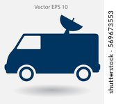 van with a satellite dish on...