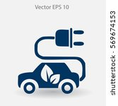 flat eco car icon. vector | Shutterstock .eps vector #569674153