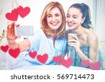 hearts hanging on a line... | Shutterstock . vector #569714473