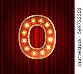 realistic retro gold lamp bulb... | Shutterstock .eps vector #569732203