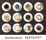 coffee cups assortment top view ... | Shutterstock .eps vector #569753797