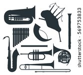 wind musical instruments... | Shutterstock .eps vector #569753833