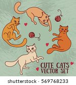 Stock vector cute doodle playing cats retro palette set of vector illustration 569768233