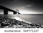 Fehmarnsund Bridge In Monochrome