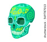 mexican calavera skull icon in... | Shutterstock . vector #569787013