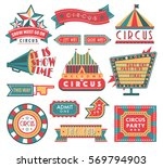circus vintage labels banner...