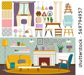 interior details flat style... | Shutterstock .eps vector #569794957