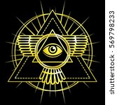 eye of providence. all seeing... | Shutterstock .eps vector #569798233