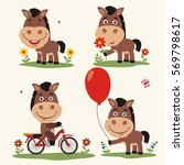 Stock vector vector set funny horse plays on meadow collection isolated horse on bicycle with balloon and 569798617