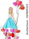 girl with balloons and hearts.... | Shutterstock .eps vector #569809423