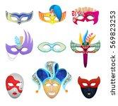 venetian carnival face masks... | Shutterstock .eps vector #569823253