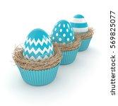 3d rendering of easter eggs in...   Shutterstock . vector #569825077