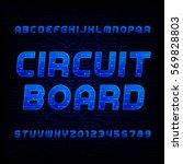 circuit board font. vector... | Shutterstock .eps vector #569828803