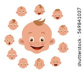 baby facial expression isolated ... | Shutterstock .eps vector #569841037