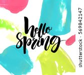 Hello Spring Text On Colorful...