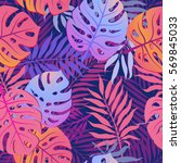 summer exotic floral tropical... | Shutterstock .eps vector #569845033