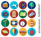 rest and travel set icons in...