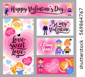 banners set with boys and girls ... | Shutterstock .eps vector #569864767