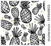 seamless pattern with pineapple.... | Shutterstock .eps vector #569868823