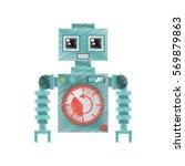drawing robot machine alarm...   Shutterstock .eps vector #569879863