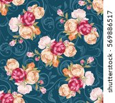 seamless floral pattern with... | Shutterstock .eps vector #569886517
