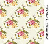 seamless floral pattern with... | Shutterstock .eps vector #569895313