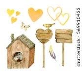 set watercolor flowers ... | Shutterstock . vector #569910433