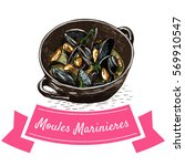 moules marinieres colorful... | Shutterstock .eps vector #569910547
